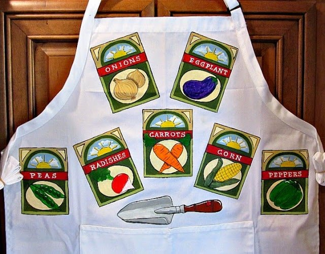 Hand Painted Vegetable Gardening Apron