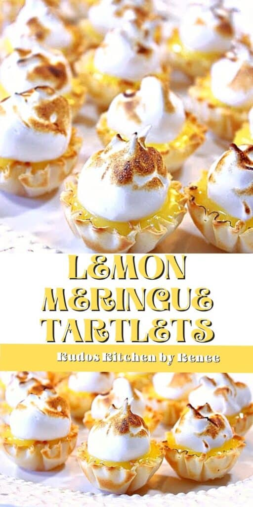 A double image collage along with a title text overlay graphic for Lemon Meringue Tartlets