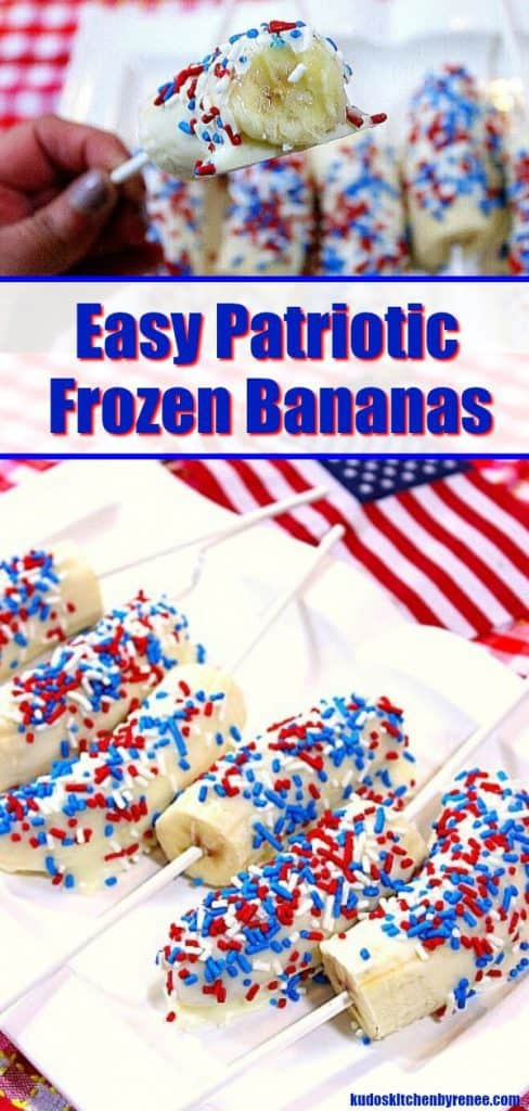 Want something that's cold and creamy? Something that's healthy and yet slightly decadent, too? These Patriotic White Chocolate Covered Frozen Bananas are just the thing you're craving! - kudoskitchenbyrenee.com
