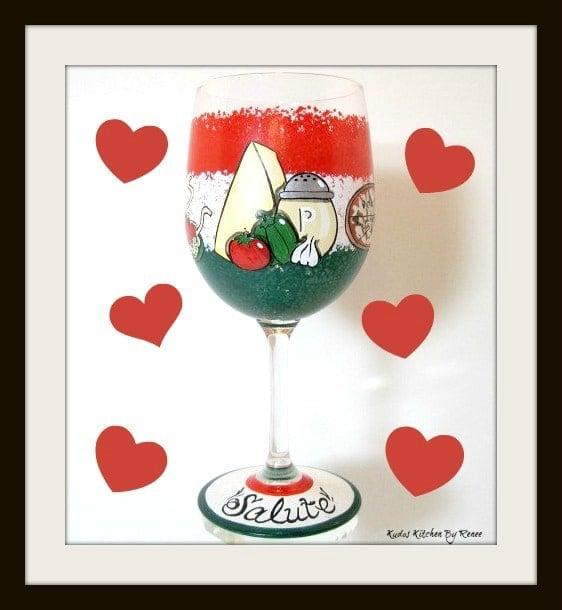 Hand Painted Custom Italian Food Wine glass - kudoskitchenbyrenee.com