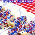 A close up image of frozen chocolate covered bananas on a plate with red, white, and blue sprinkles.