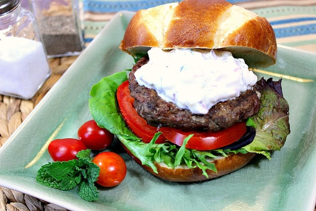 Juicy Greek Lamb Burgers with Feta Cheese & Tzatziki Sauce - www.kudoskitchenbyrenee.com