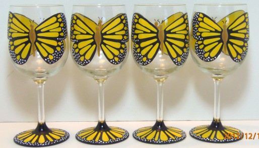 yellow monarch butterfly wine glasses