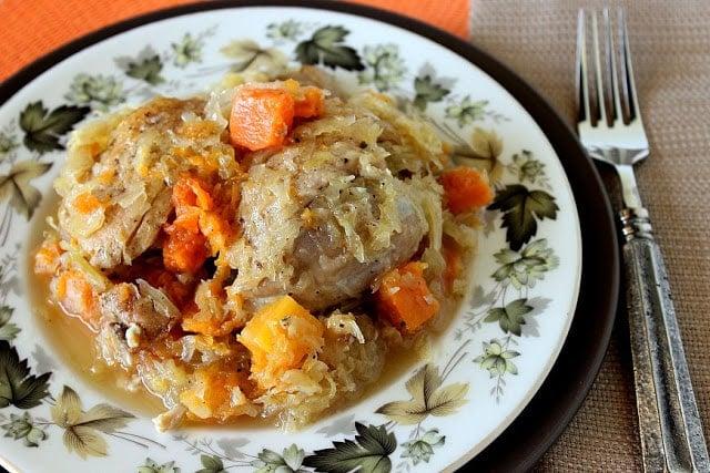 Sauerkraut Chicken Thighs with Butternut Squash