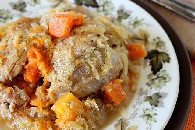 Sauerkraut Chicken Thights with Butternut Squash