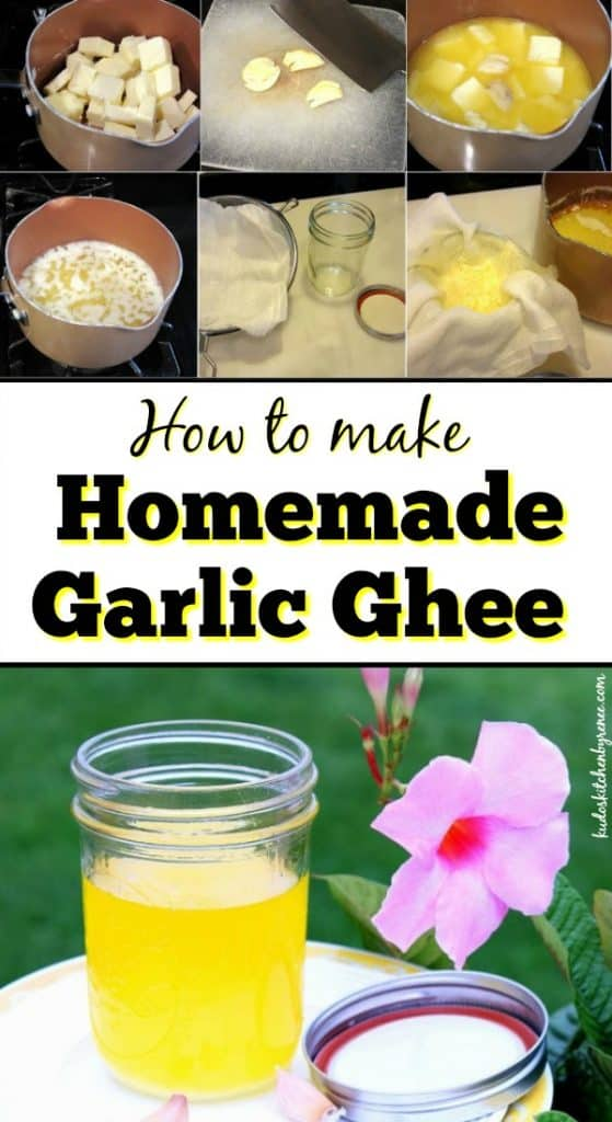 Vertical photo title text image of homemade garlic ghee.
