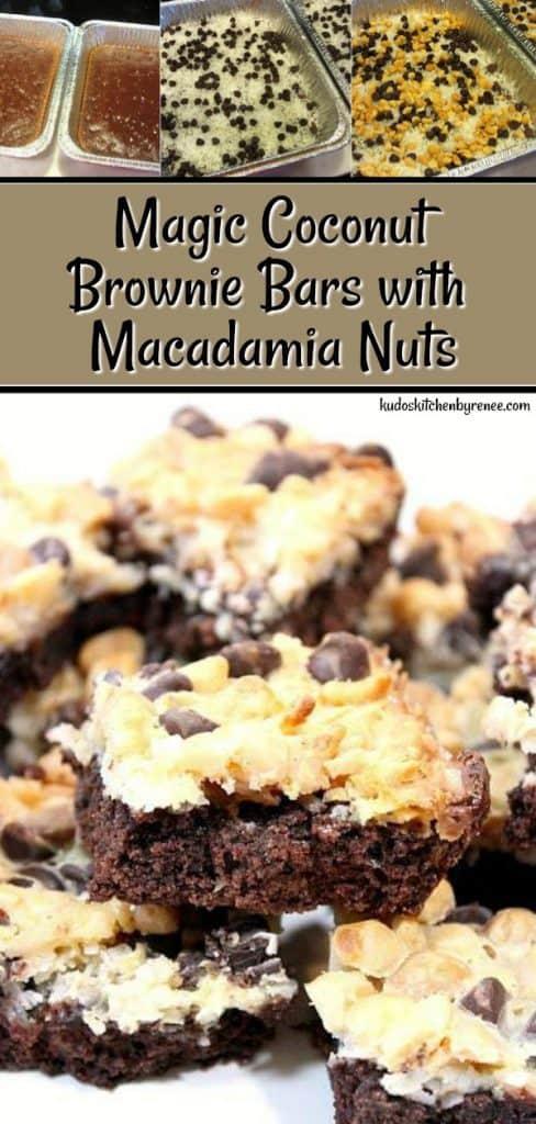 Magic Coconut Brownie Bars with Macadamia Nuts - kudoskitchenbyrenee.com