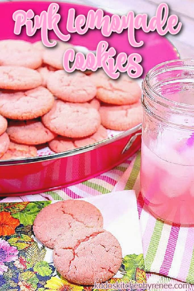 A vertical tray of pink lemonade cookies with a glass of pink lemonade and a title text overlay graphic