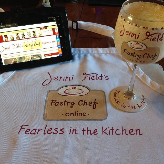 Hand Painted Food Blogger Apron and Wine Glass - kudoskitchenbyrenee.com