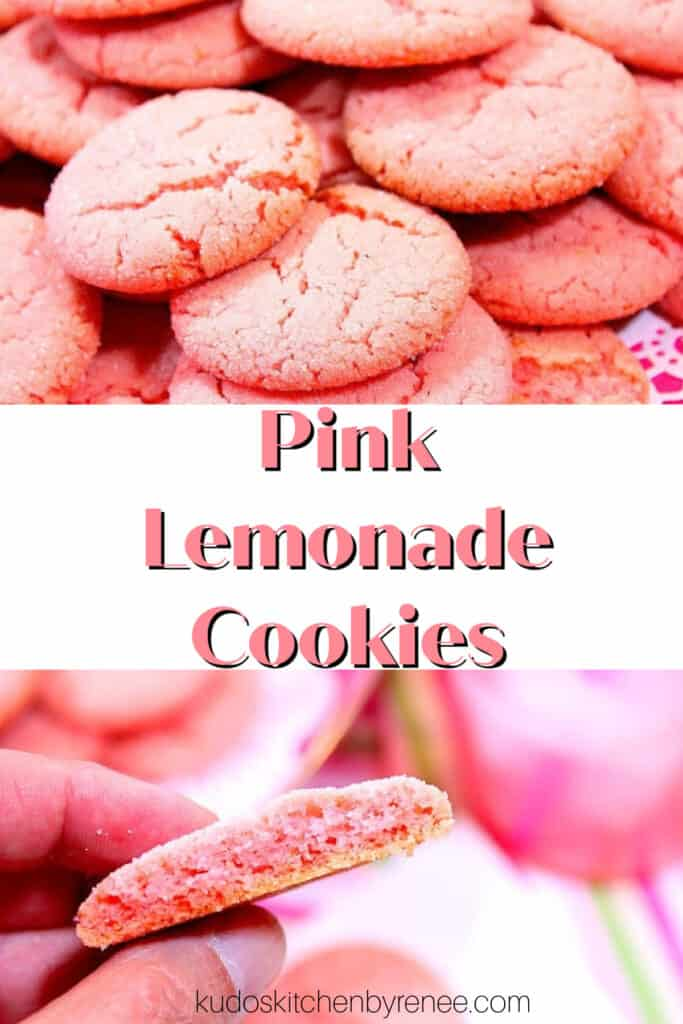 A vertical two image collage along with a title text overlay graphic for Pink Lemonade Cookies