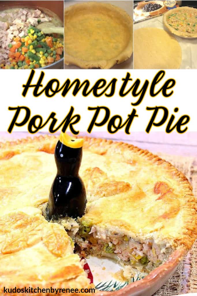 A vertical photo collage of a home-style pork pie pie along with tutorial photos and a title text overlay graphic