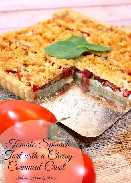 Tomato Spinach Tart with Cheesy Cornmeal Crust