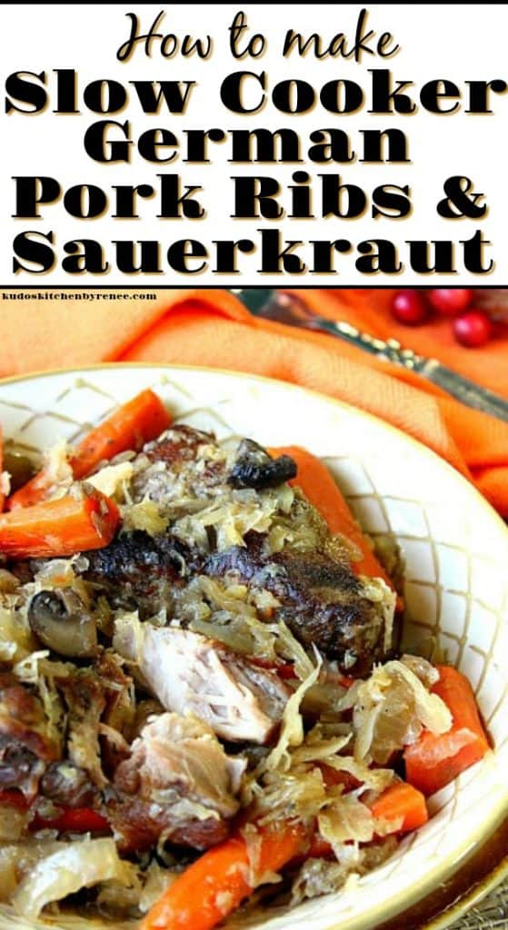 A closeup photo of slow cooker pork ribs and sauerkraut in a bowl with carrots and a title text overlay graphic