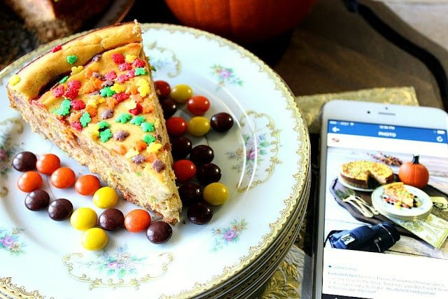 Reese's Pieces Pumpkin Cheesecake