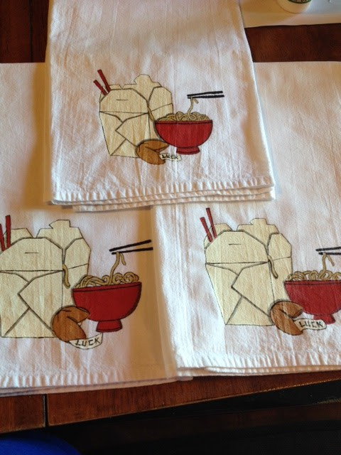 Noodle Bowl Painted Tea Towels