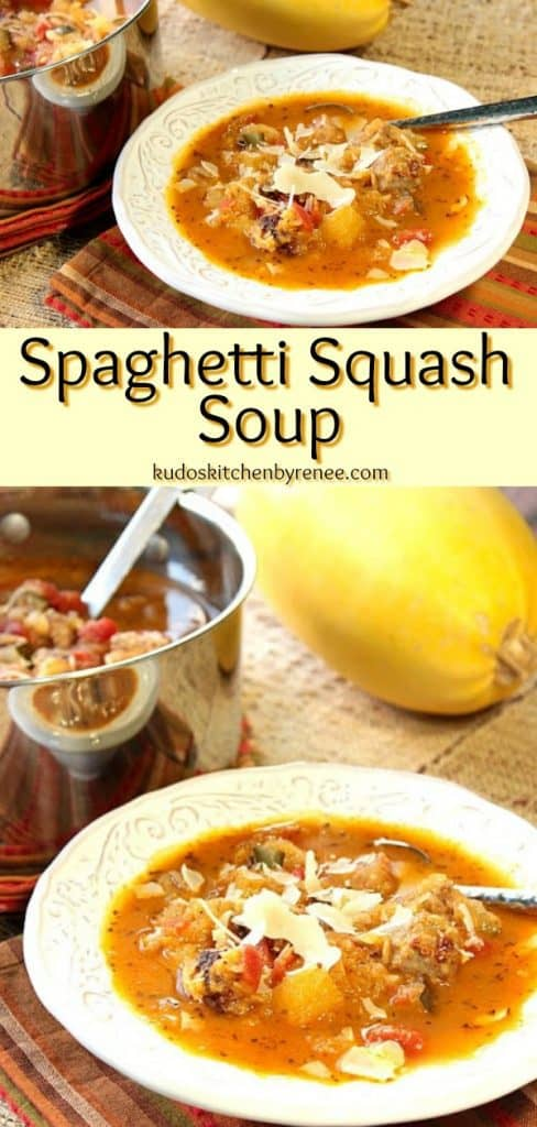 A vertical photo collage  of spaghetti squash soup in a bowl and in a soup pot with a title text overlay graphic