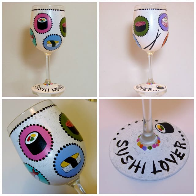 Collage images of a Sushi Lovers Wine Glass