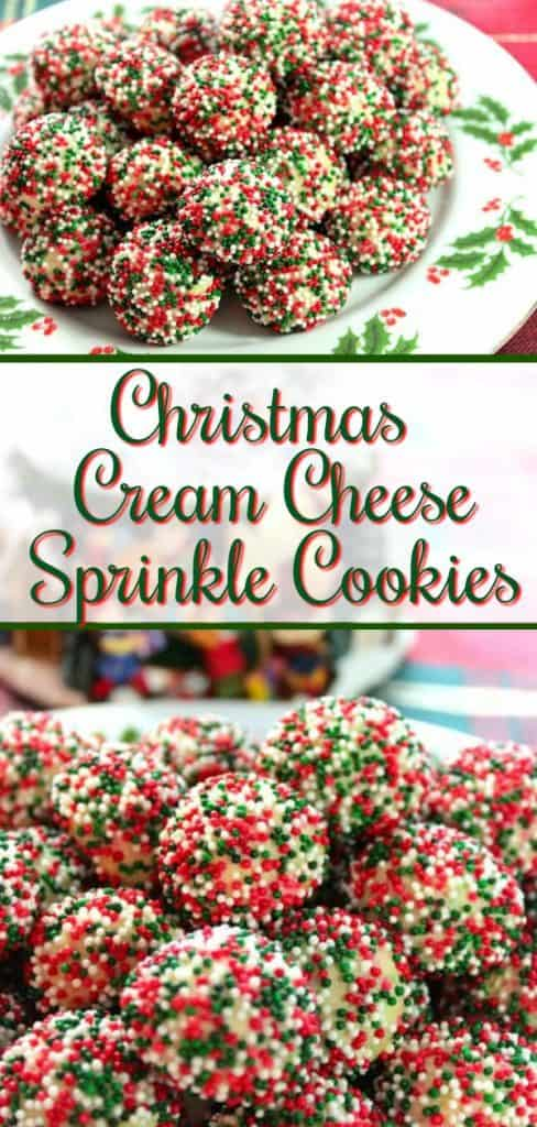 Vertical title text collage of Christmas Cream Cheese Sprinkle Cookies.