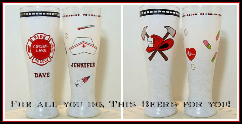 Fireman and Nurse Pilsner Glass