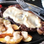 Bourbon Butter Sauce over steak and potatoes