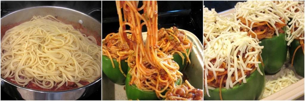 Spaghetti Stuffed Green Pepper Collage 4