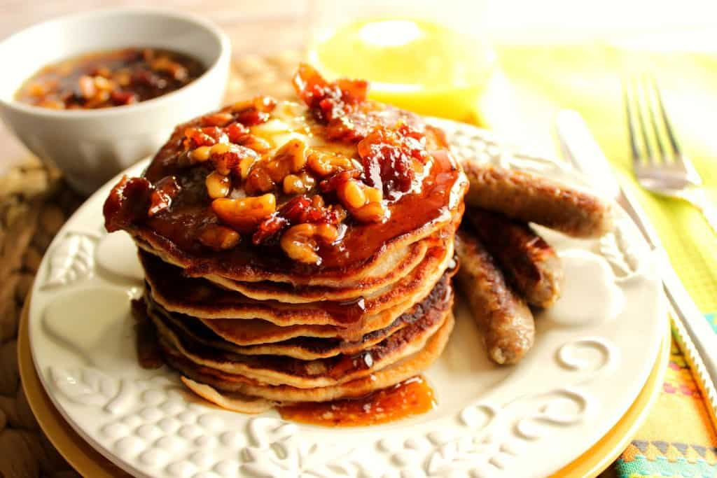 If you're looking to indulge in a wildly delicious stack of pancakes from time to time, do so with these Whole Wheat Banana Bourbon Pancakes with Bourbon Bacon Butter Syrup - Kudos Kitchen by Renee