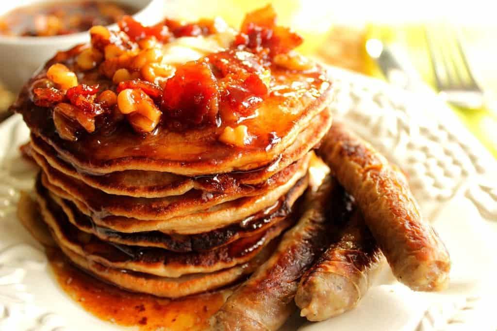 Whole Wheat Banana Bourbon Pancakes