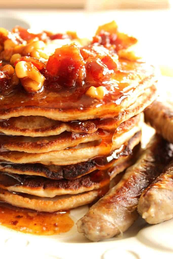 If you're looking to indulge in a wildly delicious stack of pancakes from time to time, do so with these Whole Wheat Banana Bourbon Pancakes with Bourbon Bacon Butter Syrup.