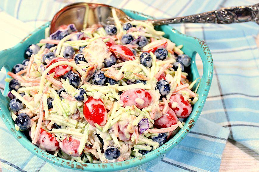 Broccoli and Blueberry Salad - www.kudoskitchenbyrenee.com