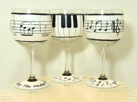 Piano Keys Hand Painted Wine Glass