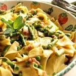 Springtime pasta with peas, asparagus and mint.