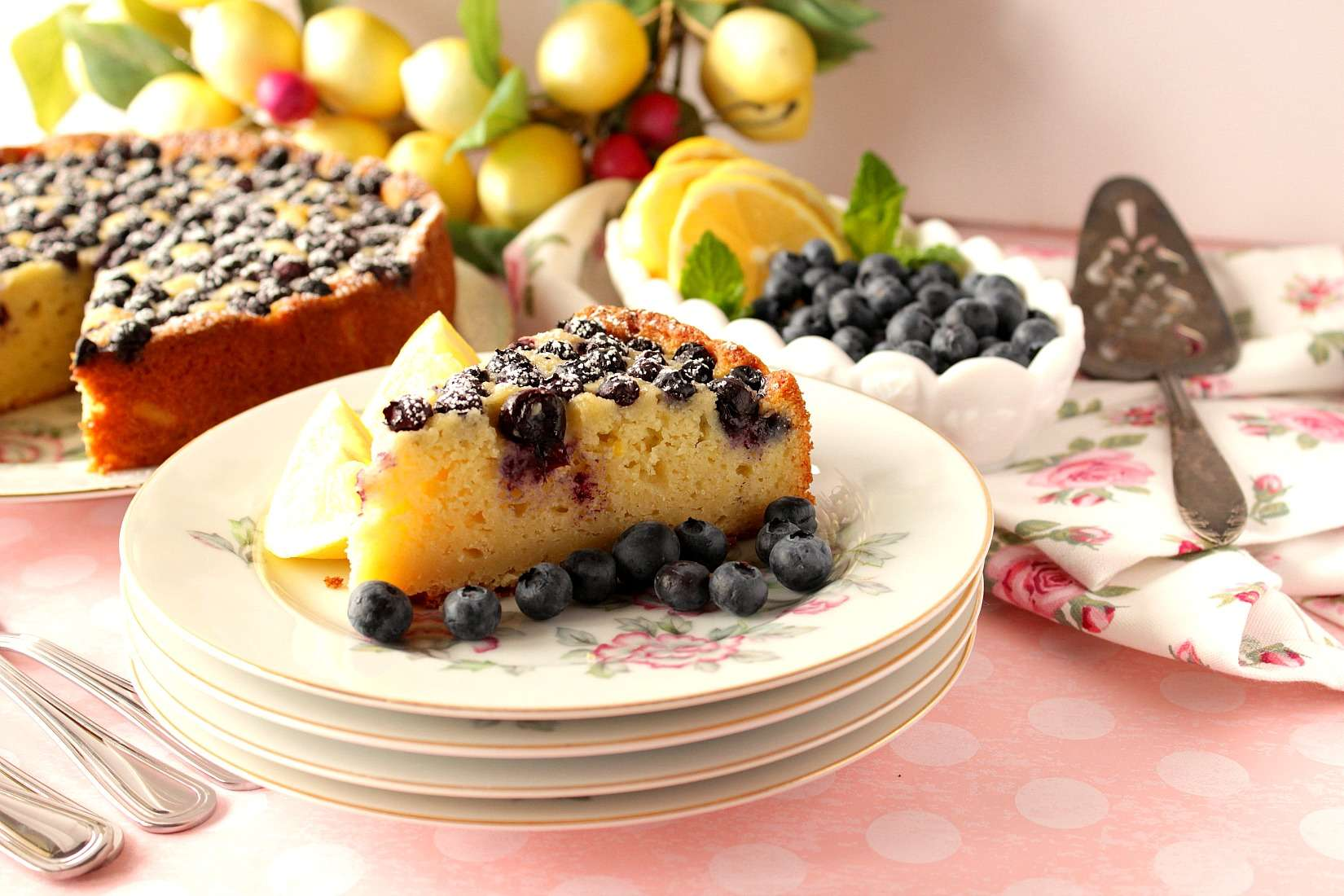Lemon Ricotta Cake with Blueberries