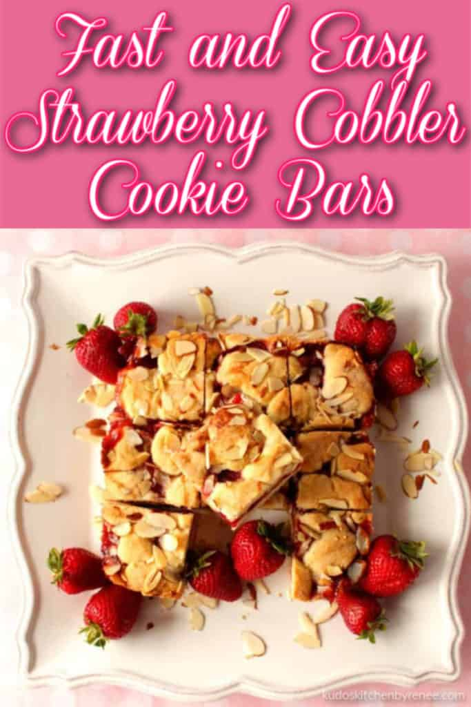Title Text graphic of an overhead photo of strawberry cobbler bars on a square white plate