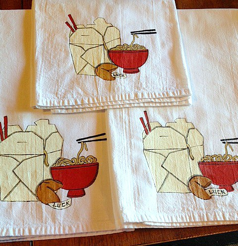 Hand Painted Noodle Bowl Tea Towel
