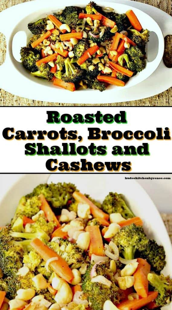 Vertical collage text image of broccoli and carrots in a white bowl.