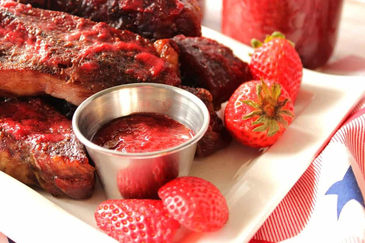 Sriracha BBQ Sauce with Strawberries