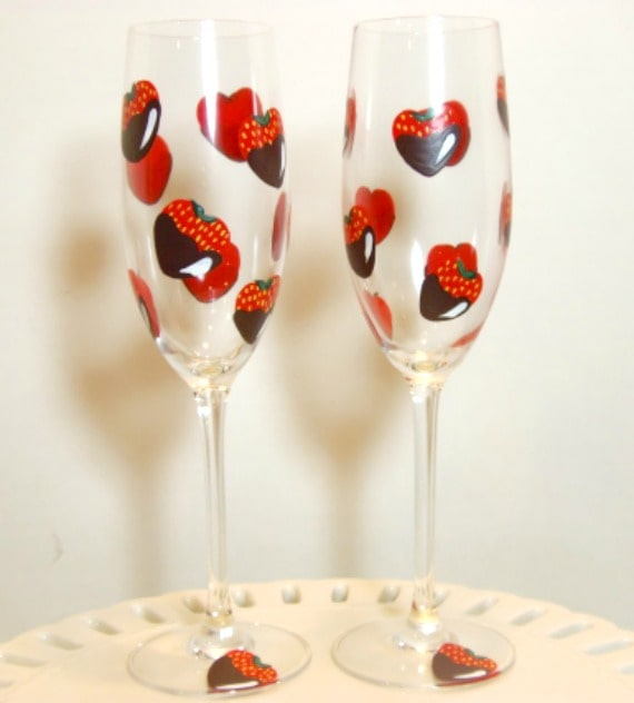 Hand Painted Chocolate Strawberry Champagne Flutes