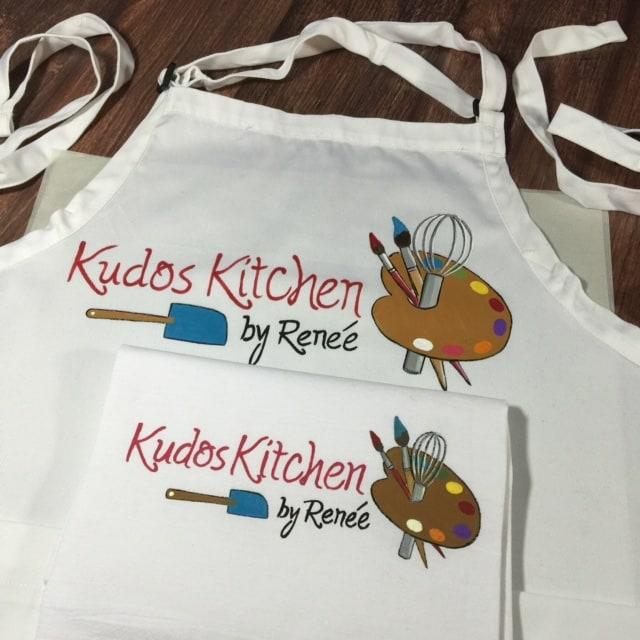 Hand Painted Food Blogger Apron Kudos Kitchen Logo Fabrics