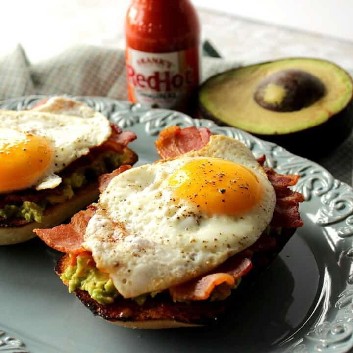 Kicked Up Avocado Toast with Bacon, Egg and Hot Sauce Recipe