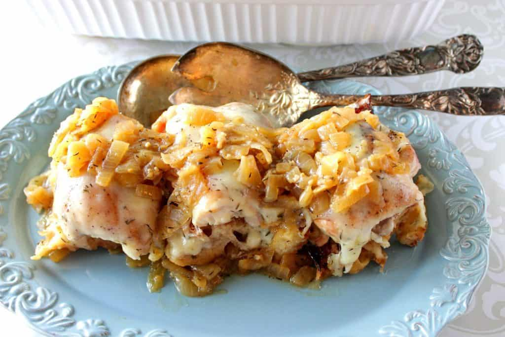 Chicken with caramelized onions.