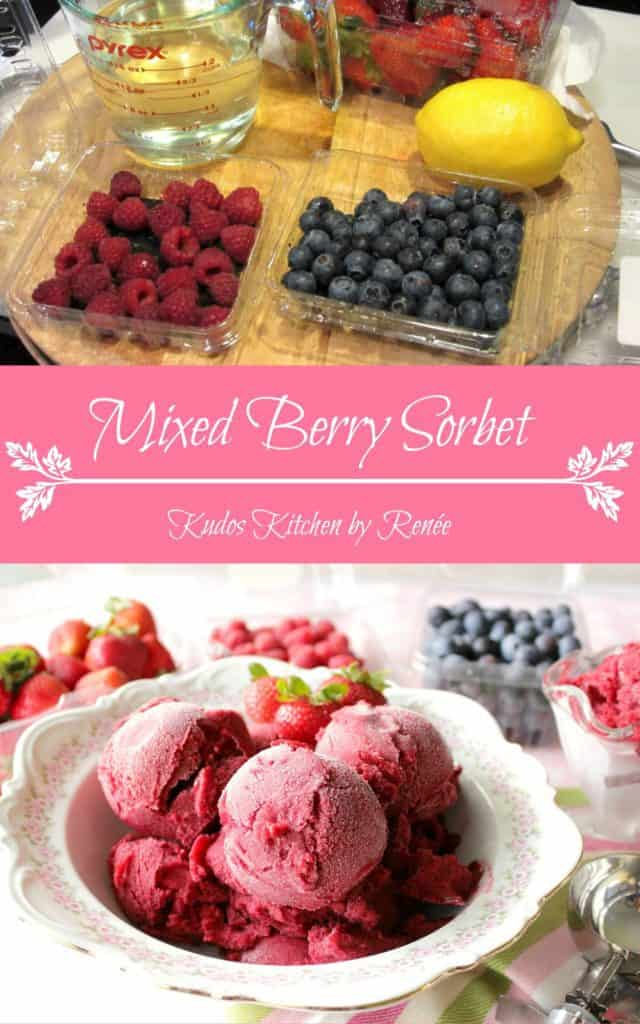 Mixed Berry Sorbet with Strawberries, Blueberries and Raspberries