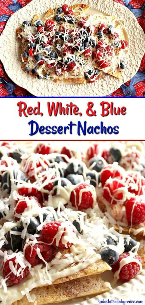 Title text collage image of dessert nachos on a white platter and a closeup.
