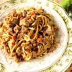 Turkey Bolognese over spaghetti