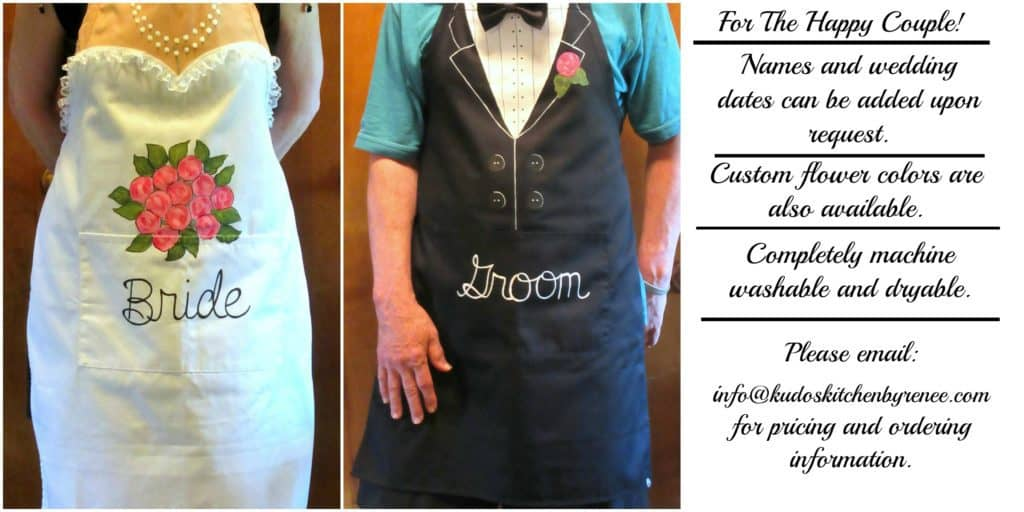 Bride and Groom Hand Painted Gown and Tuxedo Aprons