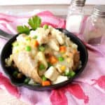Chicken Pot Potatoes with cream sauce and vegetables