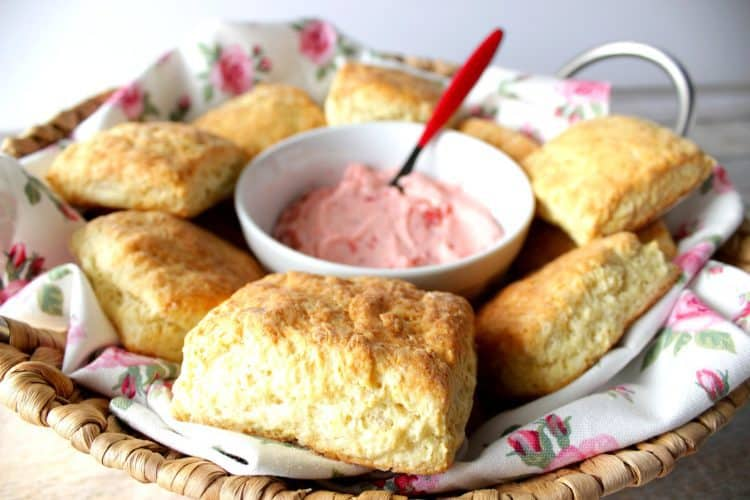 Mile High Cream Cheese Biscuits with Strawberry Butter