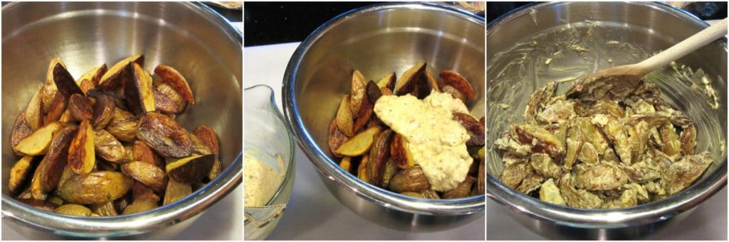 Tossing the dressing on Easy Roasted Potato Salad