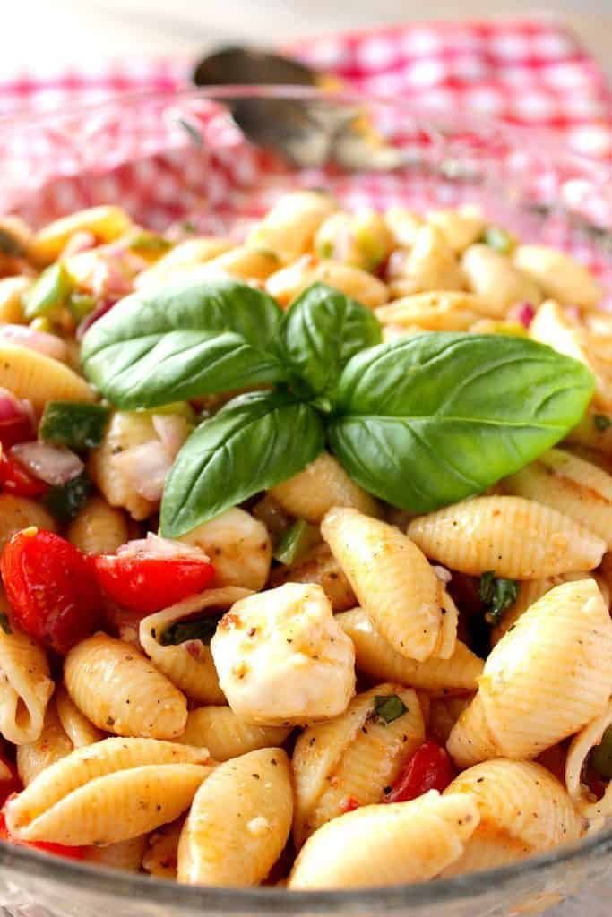 Vertical close up image of Italian Shell Pasta Salad with Mozzarella, Basil & Tomatoes. BBQ side dish roundup