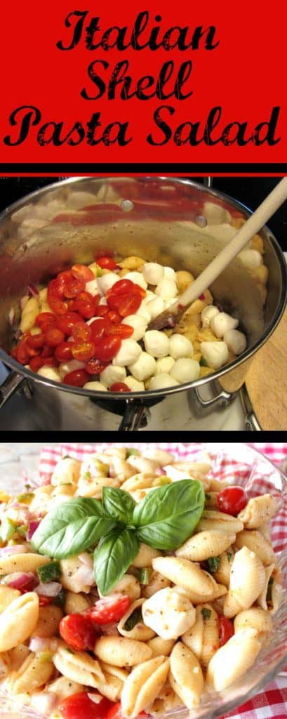 Title text vertical collage of how to make Italian shell pasta salad.
