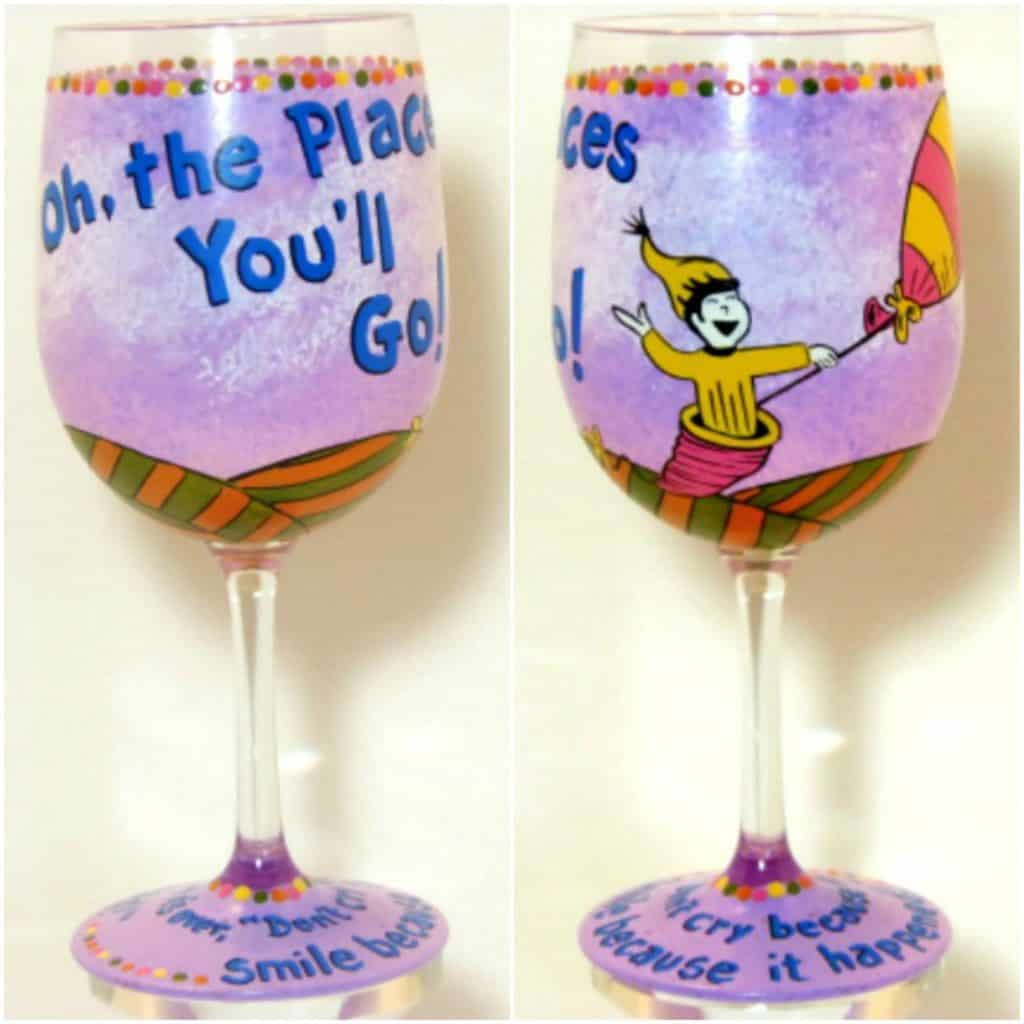 Dr. Seuss Hand Painted Wine Glass - Kudos Kitchen Paints